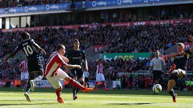 Stoke's Charlie Adam scores his team's second goal against Southampton