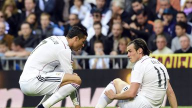 Ronaldo (left) scored his 50th goal of the season but Madrid lose Bale to injury