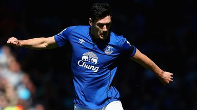 Gareth Barry: Everton midfielder in action against Manchester United