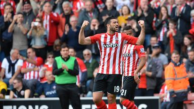 Southampton's Italian striker Graziano Pelle celebrates opening the scoring
