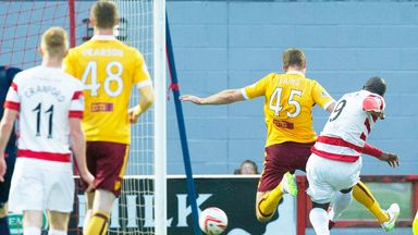 Jason Scotland scores the first goal in Hamilton's win over Motherwell