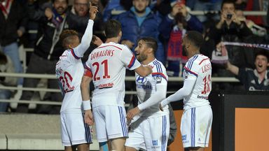 Lyon celebrate their first goal