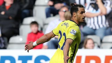 Nacer Chadli celebrates after putting Tottenham in front.