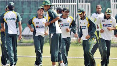 Pakistan training at the Gaddafi stadium in Lahore where international cricket has been absent since 2009