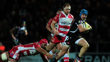 Jack Nowell races clear to score a try during Exeter's loss to Gloucester in January