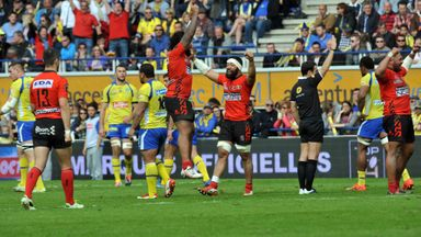 Oyonnax's players celebrate their victory at the Stade Marcel-Michelin