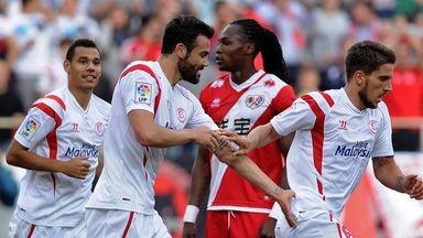 Sevilla celebrate during their win over Rayo Vallecano