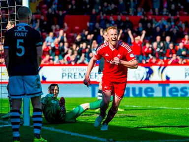 Aberdeen's Adam Rooney celebrates after putting his side 1-0 up.