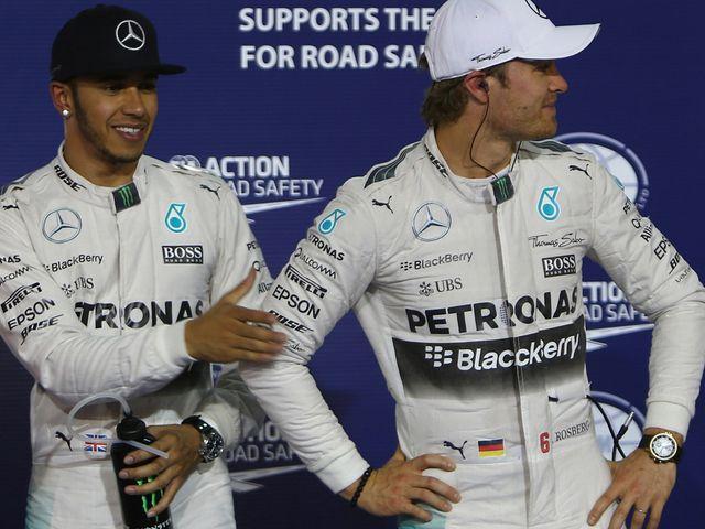 Lewis Hamilton (left): Won in Bahrain