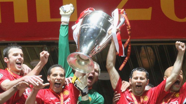 Giggs came on as a second-half substitute as he won his second Champions League trophy in Moscow