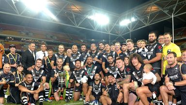 New Zealand celebrate victory over Australia in ANZAC test series