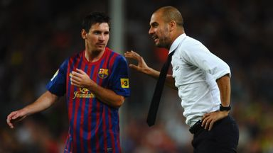 Pep Guardiola gives Lionel Messi instructions during the Spaniard's time at Barcelona