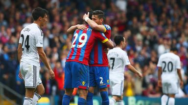 Marouane Chamakh: The goalscorer celebrates with Joel Ward.
