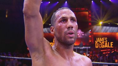 James DeGale celebrates his win over Andre Dirrell