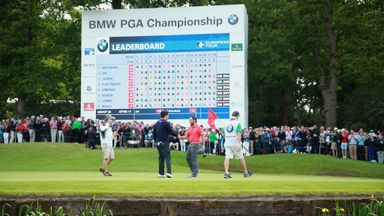 Francesco Molinari shakes hands with Byeong-Hun An on day 3 of the BMW PGA Championship at Wentworth
