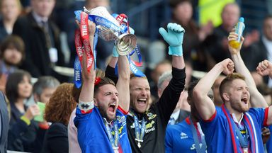 Inverness captain Graeme Shinnie lifts the William Hill Scottish Cup at Hampden last May
