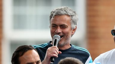 Chelsea manager Jose Mourinho talks to the crowd during the club's Premier League victory parade in London