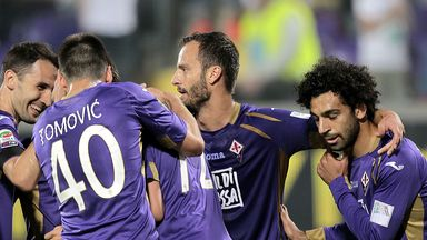 Fiorentina players celebrate a goal scored by Josip Ilicic