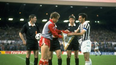 Liverpool captain Phil Neal and his Juventus counterpart Gaetano Scirea shake hands ahead of kick-off in the 1985 European Cup final