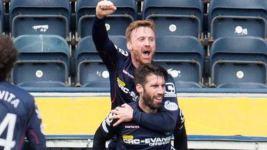 Rocco Quinn (bottom) celebrates his goal against Kilmarnock with Ross County team-mate Craig Curran