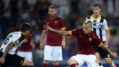 Radja Nianggolan with the ball for Roma