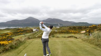 Rory McIlroy tees off at Royal County Down Golf Club earlier this year