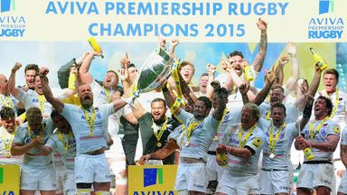 Saracens celebrate after beating Bath in last season's Aviva Premiership final