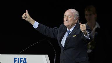 FIFA President Sepp Blatter gestures