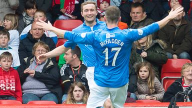 Chris Kane: Celebrates with James McFadden after scoring the only goal at Pittodrie on Sunday