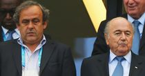 UEFA president Michel Platini (l), with his FIFA counterpart Sepp Blatter during last year's World Cup in Brazil