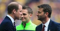 Prince William, Duke of Cambridge, meets Villa boss Tim Sherwood before the FA Cup final