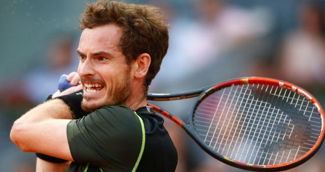 Andy Murray in action against Rafael Nadal in the final of the Mutua Madrid Open