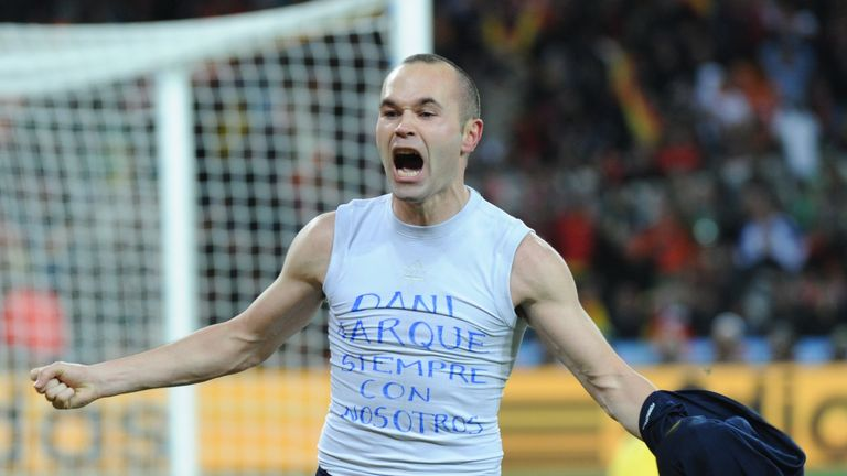 Andres Iniesta celebrates scoring the winning goal in the 2010 World Cup final for Spain against Netherlands