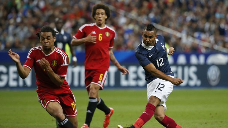 Dimitri Payet (R) scored a late consolation goal for France