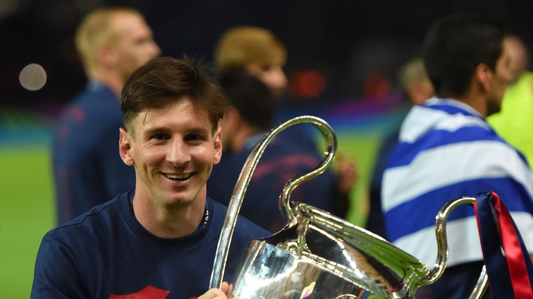 Lionel Messi Celebrates With The Trophy After Winning Champions League Again