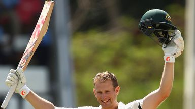 Adam Voges celebrates his maiden Test-match century