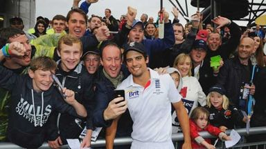 England captain Alastair Cook poses for selfies with fans