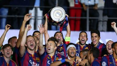 Xavi was given the honour of lifting the Champions League trophy