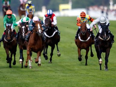 Clondaw Warrior (right), ridden by Ryan Moore, wins the Ascot Stakes
