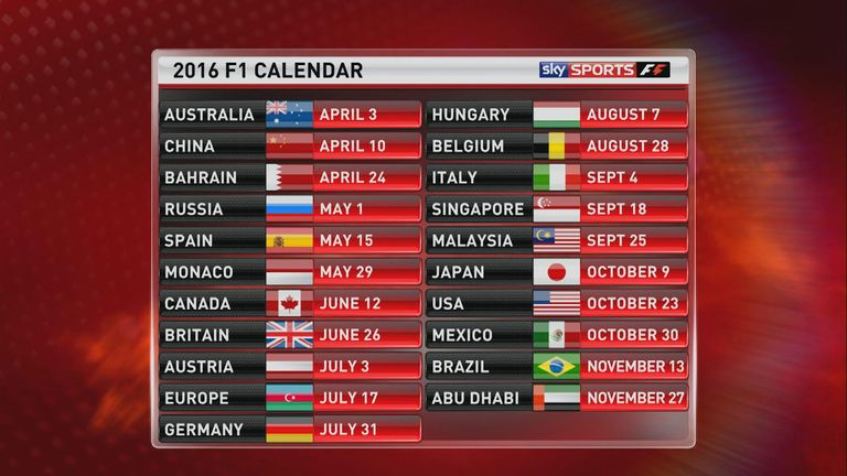 The provisional calendar for F1 in 2016