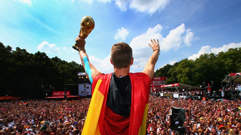Schweinsteiger shows off the World Cup
