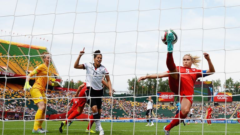 Steph Houghton clears the ball off the line agianst Germany