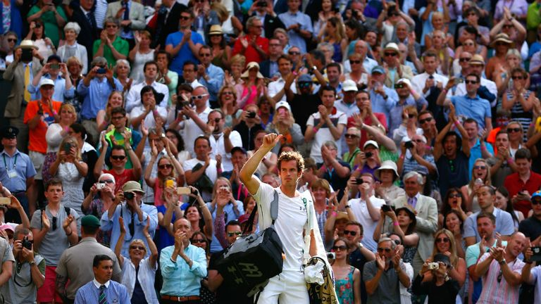 Andy Murray  returns to Wimbledon's Centre Court for his quarter-final against Vasek Pospisil