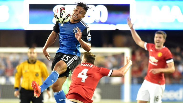 Phil Jones competes against San Jose Earthquakes