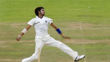 Shanthakumaran Sreesanth bowling for India against Sussex before his ban.