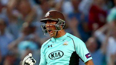 Azhar Mahmood of Surrey celebrates his winnning six