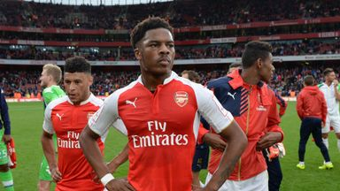Chuba Akpom (centre) could be joining Isaac Hayden at Hull