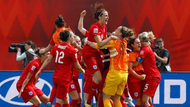England Women celebrate after beating Germany at the World Cup