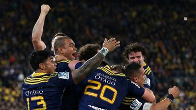The Highlanders celebrate winning the Super Rugby final
