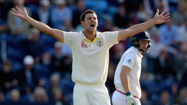 Josh Hazlewood appeals during the opening day of the Ashes in Cardiff